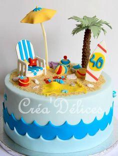 Avant d'arriver aux grandes vacances, je vous fais un peu voyager et rêver avec ce gâteau sur le thème de la plage <3 Pool Party Cakes, Luau Cakes, Pool Cake, Ocean Cakes, Beach Theme Cupcakes, Beach Themed Cakes, Beach Cakes, Cl Birthday, 40th Birthday Cakes