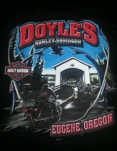 Harley Davidson Motorcycles Men's T-shirt L Black Eugene OR Excellent Shape #HarleyDavidson #BasicTee