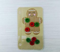 Quiet Book  Toddler Felt Page  Gingerbread Tic Tac Toe Felt