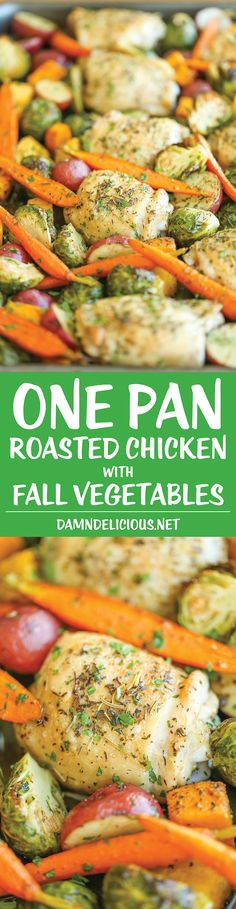 One Pan Roasted Chicken with Fall Vegetables - perfect weeknight chicken dinner recipe!
