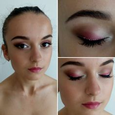 Prom makeup. Hot pink shadows, sparkly liner, false lashes
