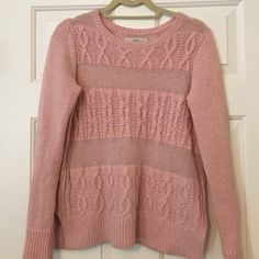 "LOFT Pink Cable Knit Sweater Size XS Super soft & such a pretty color!  Measures 19"" across bust & 24"" long. LOFT Sweaters Crew & Scoop Necks"