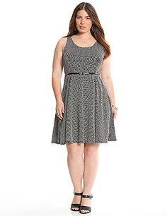 Playful polka dots and a color pop belt make this flirty skater dress a compliment magnet!   lanebryant.com