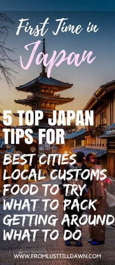 First time in Japan? From the top five best places to visit in Japan to the top five things you should always have on you while traveling there, here's your top tips for traveling to Japan for the first time. This breaks planning down so easily -- SAVE FOR LATER -- Click through, or pin this for later! -- #tokyo #japantravel #japantraveltips #