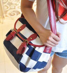 Printing Backpack Mochilas Femininas Girls Women Stripe canvas messenger bag school bags for teenage girls casual vintage navy -inBackpacks ...