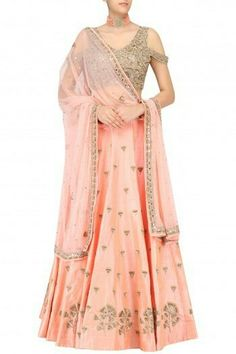 ARPITA MEHTA  Nude Peach Gingko Embroidered Lehenga Skirt and Cold Shoulder Blouse Set