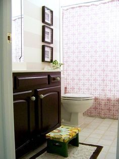 Striped guest bath, painted vanity