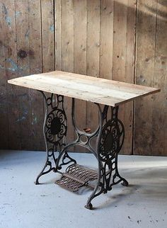 Sewing Machine Based Table With Wooden Patchwork Top, Retro, Industrial, Desk | eBay