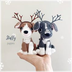 "Aidie & Jellybean on Instagram: ""Couple of Staffy puppies are ready for Christmas🎄Custom puppies are available from my shops (link in bio)🐾 #aidieandjellybean #amigurumi…"" Toy Sale, Jelly Beans, I Shop, Dinosaur Stuffed Animal, Puppies, Couples, Toys, Disney Characters, Link"