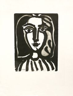 Pablo Picasso: Jeune Femme, 1949 Lithograph printed in black ink. Unique proof with Picasso handwritten signed dedication for the Centenaire Mourlot, in pencil at the John Szoke gallery in New York. Pablo Picasso, Picasso Art, Abstract Portrait, Portrait Art, Abstract Art, Picasso Prints, York Art Gallery, Cubist Movement, Modern Portraits