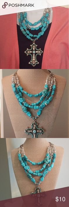Multi-strand Turquoise Inspired Cross Necklace STUNNING. What else can be said. Originally bought from Charming Charlie's, this gorgeous necklace can put the life in your outfit. Charming Charlie Jewelry Necklaces