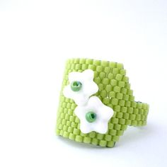 Green Beaded Ring with White Flowers Flower by LikeinaFairyTale, #beadwork