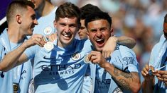 Kyle Walker of Manchester City and John Stones of Machester City celebrate with their Premier League winners medals after the Premier League match between Manchester City and Huddersfield Town at. Premier League Winners, Premier League Champions, Premier League Matches, Football Boys, Football Players, Zen, Kyle Walker, John Stones, Huddersfield Town