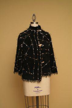 Unique Black Fleece Material Jacket  SALE 20 by Olimpias on Etsy, $325.00