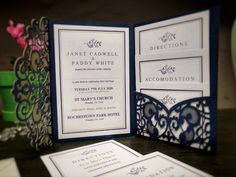These gorgeous, elegant navy pocket fold invitations with main invite, RSVP, Directions & Accommodation cards with simple navy & gold border with floral element. Pocketfold Invitations, Laser Cut Invitation, Laser Cut Wedding Invitations, Invite, Ireland Uk, Now And Forever, Navy Gold, Address Labels