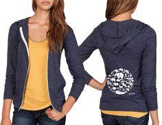 Unisex Eco Jersey True Navy Hooded Zip Up Sweatshirt - Co-Exist - Small - 2XL
