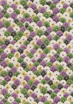 Purple Green White Flowers Japanese Yuzen Chiyogami by mosaicmouse, $2.00