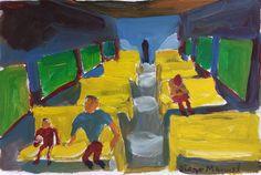 Tren de butacas amarillas ,acrílico sobre papel , 18 x 25 cm., 1998
