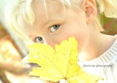 Fall photo shoot.  Little girl with a leaf portrait.  Inspired from a Pinterest post! Photo by: Alexis Rae Photography #fall #portrait #littlegirl #blonde #leaf #photography