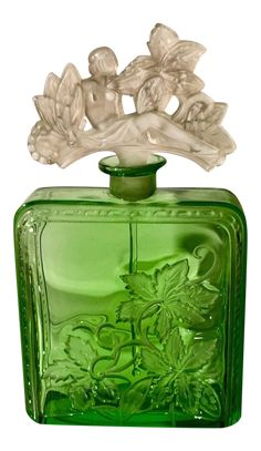 Shop bathroom accessories at Chairish, the design lover's marketplace for the best vintage and used furniture, decor and art. Art Nouveau, Art Deco, Antique Perfume Bottles, Vintage Bottles, Antique Glass, Rare Antique, Antique Art, Green Glass Bottles, Beautiful Perfume