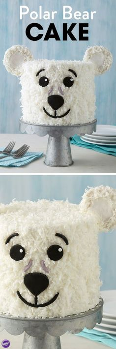 Whether it's a birthday, or just a reason to celebrate the beauty of winter, this Polar Bear Cake is a cute and fun way to liven up any party! Decorated with flaked coconut, this Polar Bear Cake makes a great winter treat served alongside a hot cup of cocoa. Use your favorite cake recipe to make this three-layer, or mix and match cake layers to reveal a colorful surprise once you cut into this treat! This cake is an easy project for beginning decorators. Birthday Cakes For Dad, Animal Birthday Cakes, Christmas Birthday Cake, Winter Birthday, Chrismas Cake, Beautiful Birthday Cakes, Beautiful Cakes, Kid Cakes, Easy Cakes For Kids