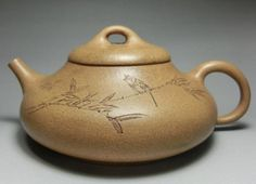 Old Yixing Zisha Teapot with flower and bird motif , artist signed , 300 CC , Pre 1970