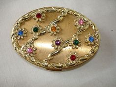 Vintage Vanity Powder Compact with Coloured Crystals inset into Design on Lid comes W/Cloth Bag on eBay♥❤♥