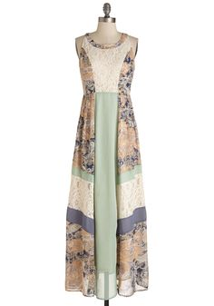 It'll All Patchwork Out Dress. Youd love to don this Ryu maxi dress to lunch with the ladies today, but you also wish to swish its lace panels at tomorrows date. #multi #modcloth