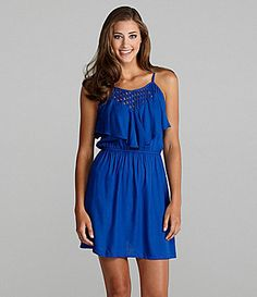 Angie Lattice RuffleTop Dress #Dillards