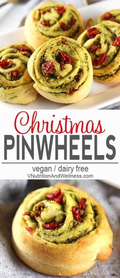 Christmas Pinwheels | Christmas Pinwheels feature green pesto and red sun-dried tomatoes to make them an extra festive addition to any holiday meal or party! vegan, dairy-free, vegetarian, vegan holiday appetizer, #veganchristmas #veganholidayappetizer #veganholidays via @VNutritionist
