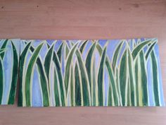 For 'The Lion King' stage scenery. Rousseau inspired jungle grass. Cardboard and acrylics.By Tanya Montandon
