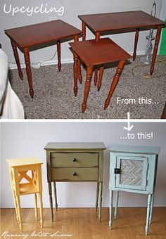 Here's a great example with upcycled side tables from Running with Scissors (includes a tutorial).