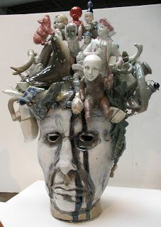 Peter Lenzo  Old, Beaten, Bruised and Abused,2012  Stoneware, nichrome wire, glazes,  porcelain slip, and found objects  191/2 x 14 1/2 x 9 in.