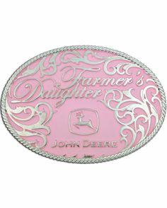 John Deere Farmer's Daughter Attitude Buckle in pink