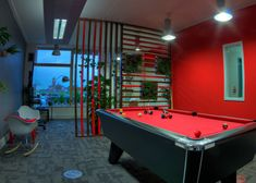 Perfect space to take a breather, relax after a long day, or engage in some friendly competition. A pool table and the addition of an Xbox One. Wooden Partitions, Pool Table, Creative Studio, Open Plan, Game Room, Commercial, New Homes, How To Plan, Boho