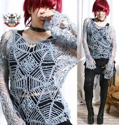 RTBU Gothic Punk Visual Kei Dir En Grey Cobweb GRAY by runnickyrun, $42.00