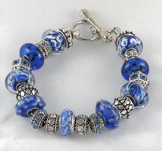 New Royal Blue Complete Charm Bracelet Beads Bracelet Brighton Jewelry Bag | eBay
