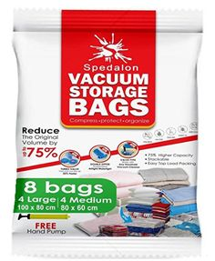 Vacuum Storage Bags - ReUsable space saver with free Hand Pump for travel packing