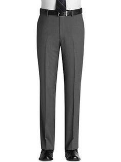 Pants & Shorts - Pronto Uomo Gray Sharkskin Slacks - Men's Wearhouse Mens Slacks, Men Trousers, Wedding Outfit For Boys, Black Jeans Men, Designer Clothes For Men, Personal Style, Man Shop, Shorts, Hairstyles