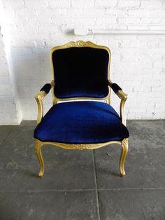 Hollywood Regency Gold French Arm Chair w/ Navy Blue Velvet Upholstery