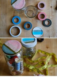 Another super-fast, super-cute, application of washi tape.  Mason jars + washi tap = endless possibilities :-)