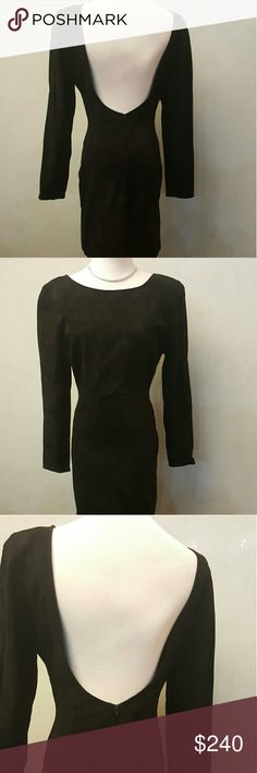 Rare Ann Taylor Suede Dress In excellent condition worn only 1x. Very rare Ann Taylor black Suede open scoop back with zipper in the back. Has small padded shoulders Ann Taylor Dresses Mini