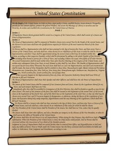 This printable scroll features the text of the United States' Constitution. Free to download and print