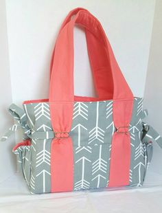 b2aa111da Girls coral diaper bag large arrow diaper bag grey by EBeanDesigns Baby  Girl Diaper Bags
