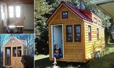 Family of three - and their dog - ditch home for 800sq ft tiny house that cost just $20,000 and can barely fit a microwave oven
