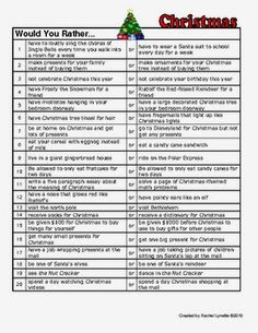 Would You Rather Questions are a great way to get kids talking or writing. They can be used as journal prompts for graphing or just for discussion when you have a few extra minutes. Here are 20 fun Christmas Themed Would You Rather Questions for you to use with your students!  Wishing you a joyous holiday  Rachel Lynette  3-4 3-5 christmas Christmas writing Christmas Writing Prompts discussion prompts Holiday Rachel Lynette Would You Rather Would You Rather Questions writing prompts