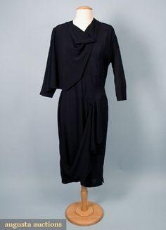 Adrian Black Silk Cocktail Dress, 1940s, Augusta Auctions