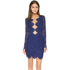 For Love & Lemons Noir Lace Mini Dress (3.029.210 IDR) ❤ liked on Polyvore featuring dresses, navy, short lace dress, long sleeve lace dress, mini dress, long-sleeve mini dress and blue lace dress