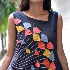Black Multicolour Embroidered Dress with Asymmetric Neckline & Pockets - Rustorange Hand Embroidery Dress, Kurti Embroidery Design, Embroidered Clothes, Embroidery Fashion, Applique Dress, Neck Designs For Suits, Dress Neck Designs, Designs For Dresses, Stylish Dresses For Girls