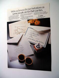 Crane Invitations paper stationery party 1981 print ad